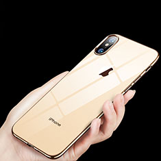 Housse Ultra Fine TPU Souple Transparente C11 pour Apple iPhone X Or