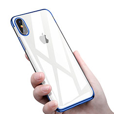 Housse Ultra Fine TPU Souple Transparente C16 pour Apple iPhone X Bleu