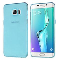 Housse Ultra Fine TPU Souple Transparente T04 pour Samsung Galaxy S6 Edge+ Plus SM-G928F Bleu