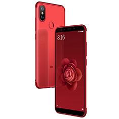 Housse Ultra Fine TPU Souple Transparente T04 pour Xiaomi Mi A2 Rouge