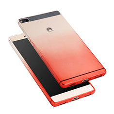 Housse Ultra Fine Transparente Souple Degrade pour Huawei P8 Rouge