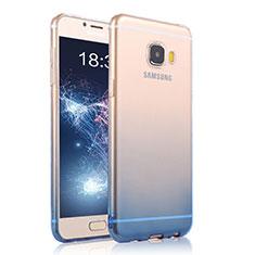 Housse Ultra Fine Transparente Souple Degrade T04 pour Samsung Galaxy C7 Pro C7010 Bleu