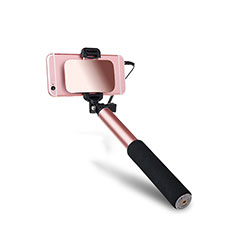 Perche de Selfie Filaire Baton de Selfie Cable Extensible de Poche Universel S03 pour Huawei Honor Magic 2 Or Rose