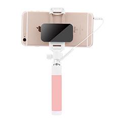 Perche de Selfie Filaire Baton de Selfie Cable Extensible de Poche Universel S07 pour Huawei P Smart 2019 Rose