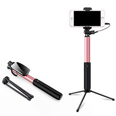 Perche de Selfie Filaire Baton de Selfie Cable Extensible de Poche Universel T35 pour Sony Xperia XZ3 Rose
