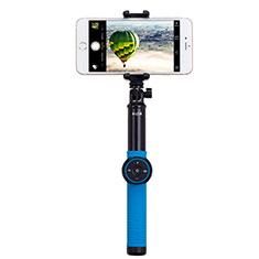Perche de Selfie Trepied Sans Fil Bluetooth Baton de Selfie Extensible de Poche Universel T21 pour Wiko Cink Five Bleu