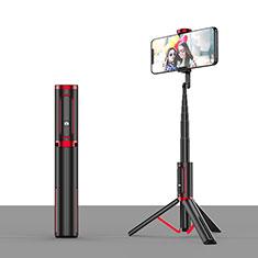 Perche de Selfie Trepied Sans Fil Bluetooth Baton de Selfie Extensible de Poche Universel T26 Rouge et Noir