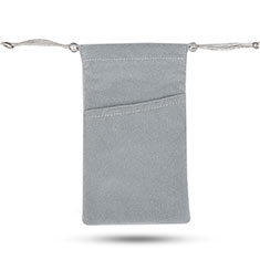 Pochette Velour Housse Universel pour Apple iPhone 12 Gris