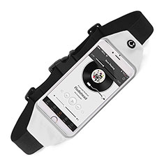 Sacs Banane Ceinture de Course Reglable Etanche Universel pour HTC Butterfly 2 Blanc