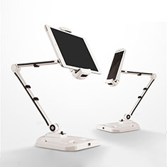 Support de Bureau Support Tablette Flexible Universel Pliable Rotatif 360 H07 pour Samsung Galaxy Tab 3 7.0 P3200 T210 T215 T211 Blanc