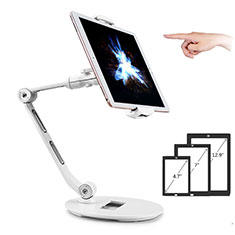 Support de Bureau Support Tablette Flexible Universel Pliable Rotatif 360 H08 pour Samsung Galaxy Tab Pro 10.1 T520 T521 Blanc