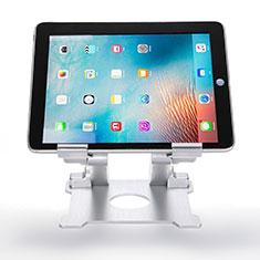 Support de Bureau Support Tablette Flexible Universel Pliable Rotatif 360 H09 pour Apple New iPad Air 10.9 (2020) Blanc