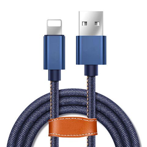 Chargeur Cable Data Synchro Cable L04 pour Apple iPhone 11 Pro Bleu