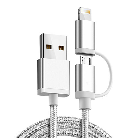 Chargeur Lightning Cable Data Synchro Cable Android Micro USB C01 pour Apple iPhone 11 Pro Argent