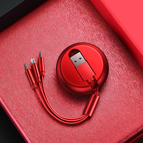 Chargeur Lightning Cable Data Synchro Cable Android Micro USB C09 pour Apple iPhone 11 Pro Rouge