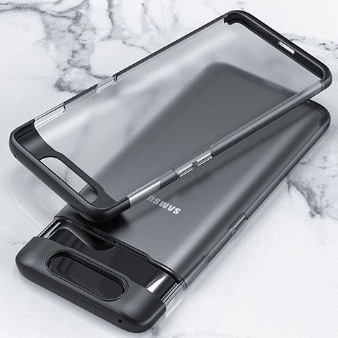Coque Antichocs Rigide Transparente Crystal Etui Housse H02 pour Samsung Galaxy A80 Noir
