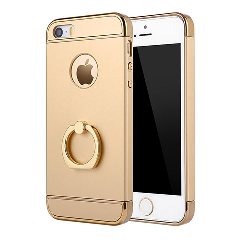 coque bumper luxe metal et plastique etui housse avec support bague anneau a02 pour apple iphone 5s or 12591 1