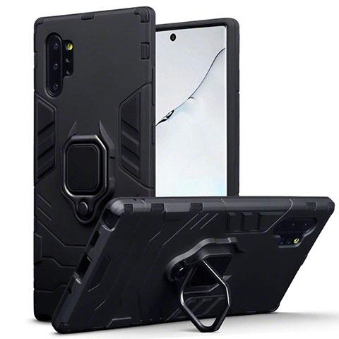 Coque Contour Silicone et Plastique Housse Etui Mat avec Magnetique Support A03 pour Samsung Galaxy Note 10 Plus 5G Noir