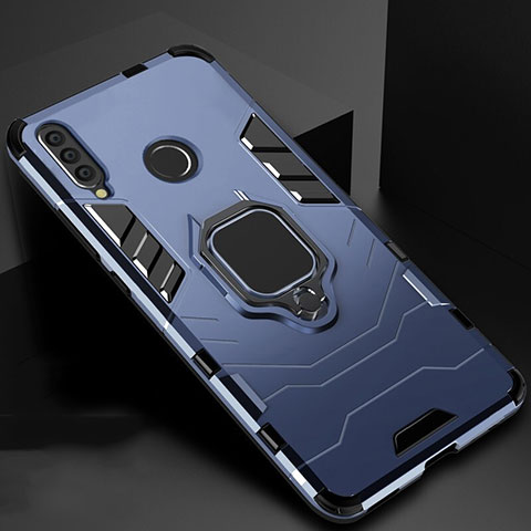 Coque Contour Silicone et Plastique Housse Etui Mat avec Magnetique Support pour Huawei Honor 20 Lite Bleu