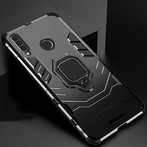 Coque Contour Silicone et Plastique Housse Etui Mat avec Magnetique Support pour Huawei Honor 20 Lite Noir