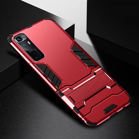 Coque Contour Silicone et Plastique Housse Etui Mat avec Support A01 pour Xiaomi Mi 10 Ultra Rouge