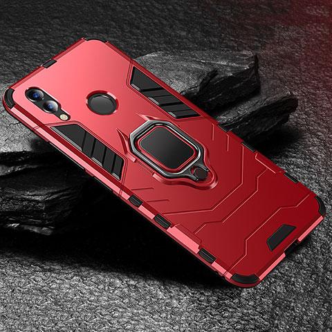 Coque Contour Silicone et Plastique Housse Etui Mat avec Support pour Huawei Honor 8X Rouge
