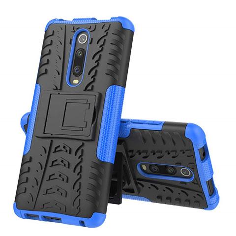 Coque Contour Silicone et Plastique Housse Etui Mat avec Support R01 pour Xiaomi Mi 9T Pro Bleu