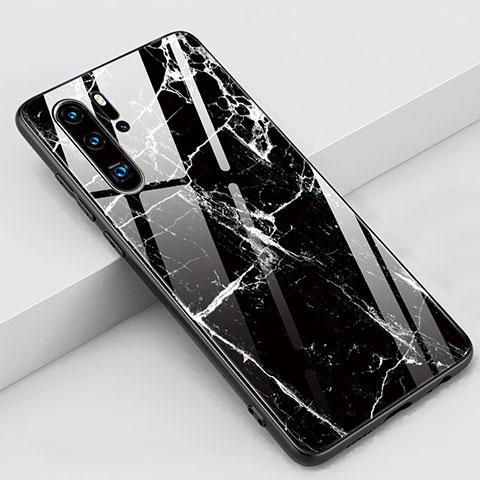 Coque Contour Silicone et Vitre Motif Fantaisie Miroir Etui Housse K03 pour Huawei P30 Pro Noir