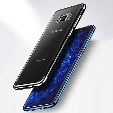 Coque Contour Silicone et Vitre Transparente Mat pour Samsung Galaxy S8 Plus Bleu