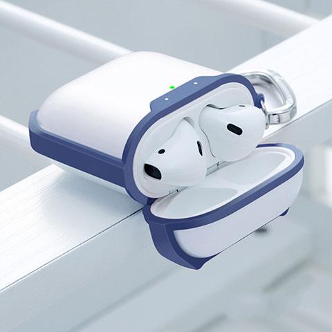 Coque de Protection en Silicone avec Mousqueton pour Boitier de Charge de Airpods C05 Bleu