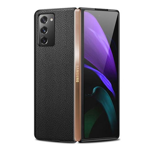 Coque Luxe Cuir Housse Etui pour Samsung Galaxy Z Fold2 5G Noir