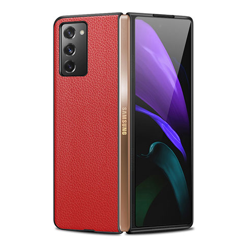 Coque Luxe Cuir Housse Etui pour Samsung Galaxy Z Fold2 5G Rouge