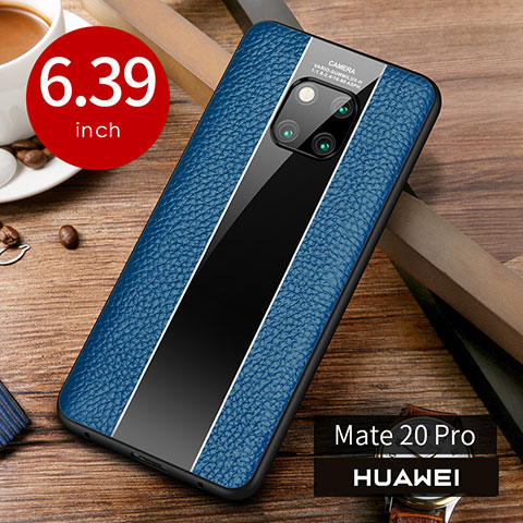 Coque Luxe Cuir Housse Etui S01 pour Huawei Mate 20 Pro Bleu