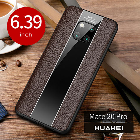 Coque Luxe Cuir Housse Etui S01 pour Huawei Mate 20 Pro Marron