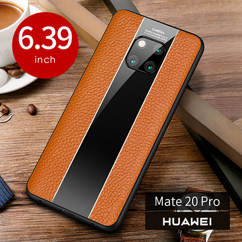 Coque Luxe Cuir Housse Etui S01 pour Huawei Mate 20 Pro Orange