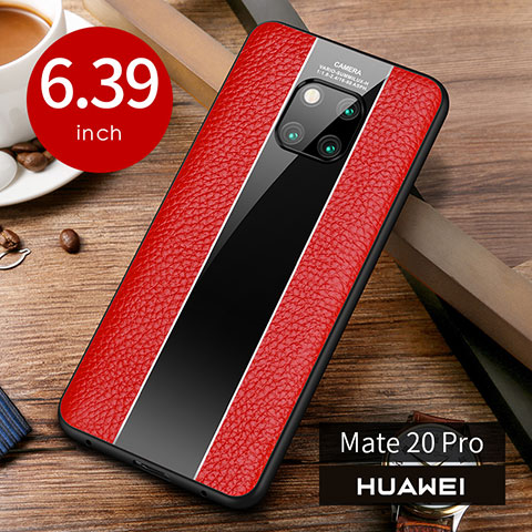 Coque Luxe Cuir Housse Etui S01 pour Huawei Mate 20 Pro Rouge