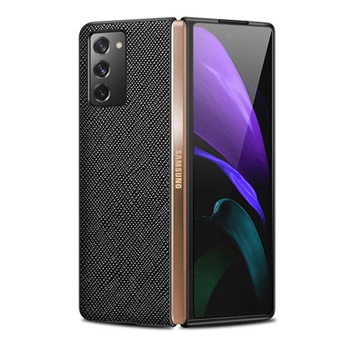 Coque Luxe Cuir Housse Etui S01 pour Samsung Galaxy Z Fold2 5G Noir