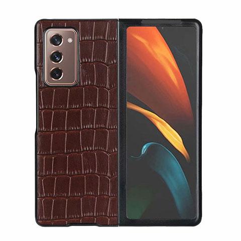 Coque Luxe Cuir Housse Etui S02 pour Samsung Galaxy Z Fold2 5G Marron