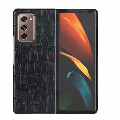 Coque Luxe Cuir Housse Etui S02 pour Samsung Galaxy Z Fold2 5G Noir
