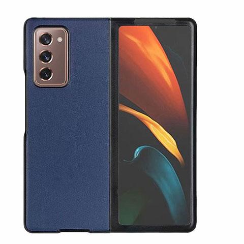 Coque Luxe Cuir Housse Etui S03 pour Samsung Galaxy Z Fold2 5G Bleu