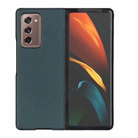 Coque Luxe Cuir Housse Etui S03 pour Samsung Galaxy Z Fold2 5G Vert