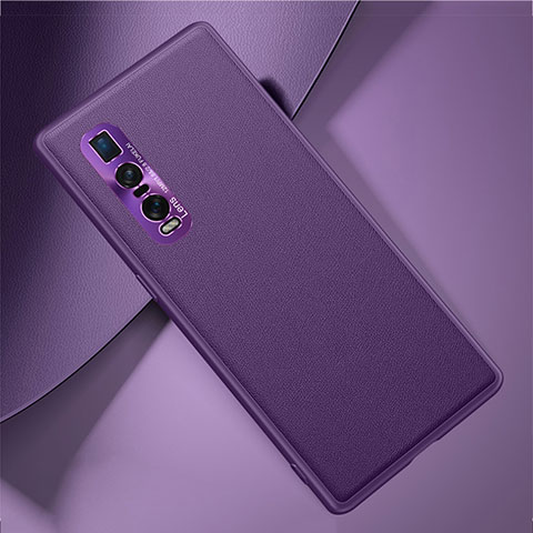 Coque Luxe Cuir Housse Etui U01 pour Oppo Find X2 Pro Violet