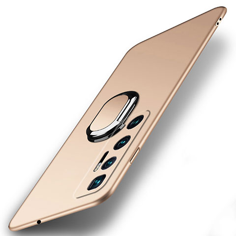Coque Plastique Housse Etui Rigide Mat avec Support Bague Anneau Aimante Magnetique A01 pour Xiaomi Mi 10 Ultra Or