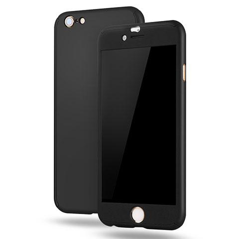 Coque Plastique Mat Protection Integrale 360 Degres Avant et Arriere Etui Housse M02 pour Apple iPhone 6 Plus Noir