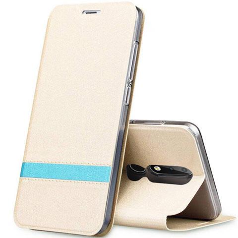 Coque Portefeuille Livre Cuir Etui Clapet L01 pour Nokia X5 Or