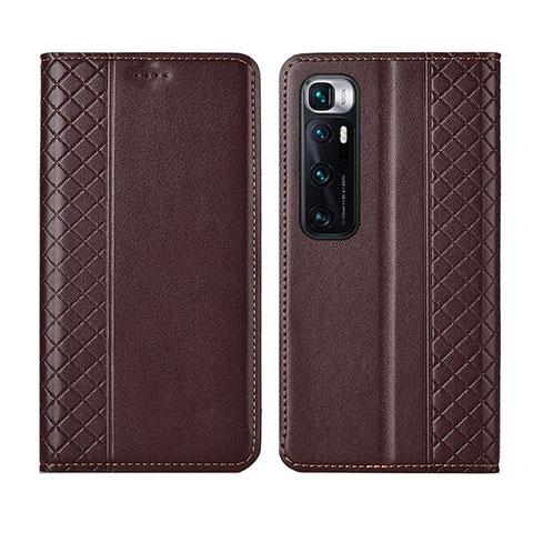 Coque Portefeuille Livre Cuir Etui Clapet L05 pour Xiaomi Mi 10 Ultra Marron