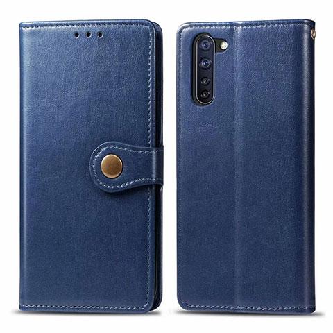 Coque Portefeuille Livre Cuir Etui Clapet L06 pour Oppo Reno3 A Bleu