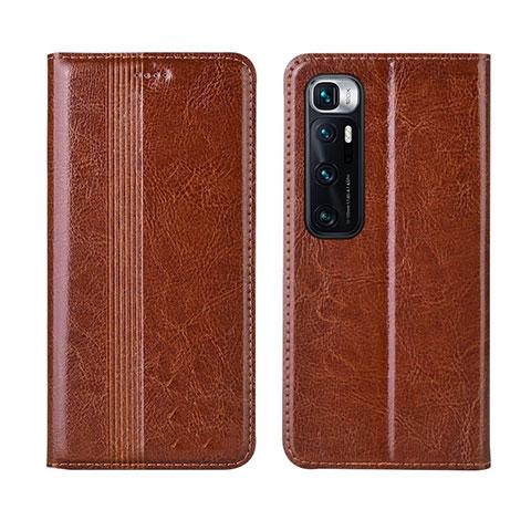Coque Portefeuille Livre Cuir Etui Clapet L06 pour Xiaomi Mi 10 Ultra Brun Clair