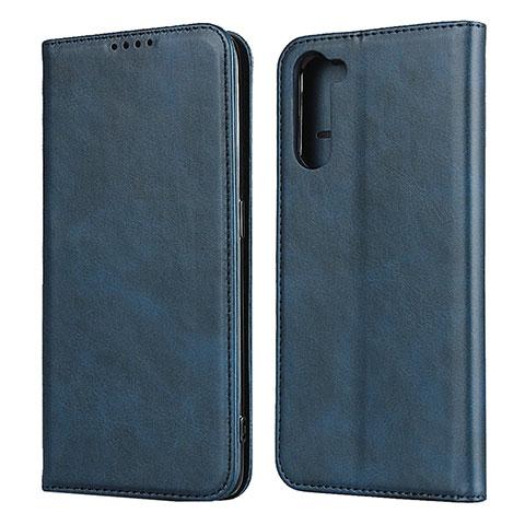 Coque Portefeuille Livre Cuir Etui Clapet L08 pour Oppo Reno3 A Bleu