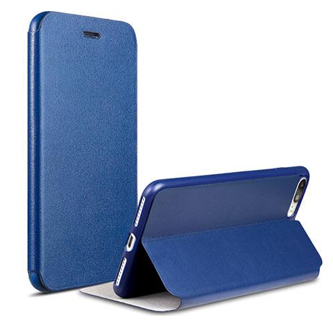Coque Portefeuille Livre Cuir L02 pour Apple iPhone 8 Plus Bleu 08e7f5ab3f96